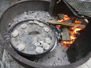Campfire dutch oven cooking with kids